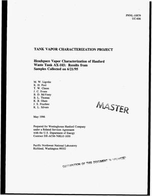 Primary view of object titled 'Headspace vapor characterization of Hanford Waste Tank AX-103: Results from samples collected on June 21, 1995. Tank Vapor Characterization Project'.