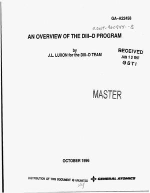 Primary view of object titled 'An overview of the DIII-D program'.