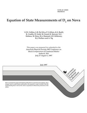 Primary view of object titled 'Equation of state measurements of D2 on Nova'.