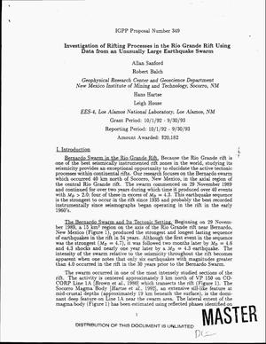 Primary view of object titled 'Investigation of rifting processes in the Rio Grande Rift using data from an unusually large earthquake swarm. Final report, October 1, 1992--September 30, 1993'.