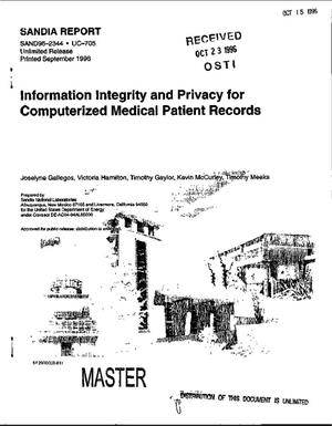 Primary view of object titled 'Information integrity and privacy for computerized medical patient records'.