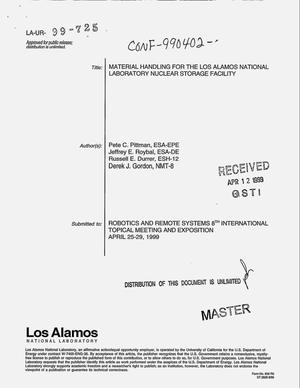 Primary view of object titled 'Material handling for the Los Alamos National Laboratory Nuclear Material Storage Facility'.