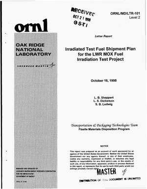 Primary view of object titled 'Irradiated test fuel shipment plan for the LWR MOX fuel irradiation test project'.