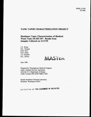 Primary view of object titled 'Headspace vapor characterization of Hanford Waste Tank 241-BX-107: Results from samples collected on November 17, 1995. Tank Vapor Characterization Project'.