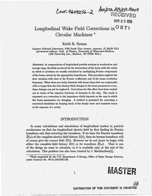 Primary view of object titled 'Longitudinal wake field corrections in circular machines'.