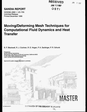Primary view of object titled 'Moving/deforming mesh techniques for computational fluid dynamics and heat transfer'.
