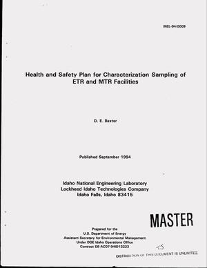 Primary view of object titled 'Health and safety plan for characterization sampling of ETR and MTR facilities'.