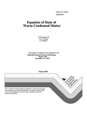 Primary view of object titled 'Equation of state of warm condensed matter'.