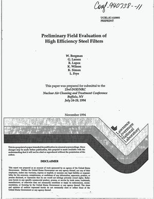 Primary view of object titled 'Preliminary field evaluation of high efficiency steel filters'.