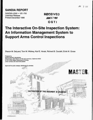 Primary view of object titled 'The interactive on-site inspection system: An information management system to support arms control inspections'.