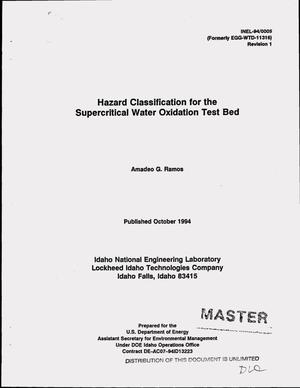 Primary view of object titled 'Hazard classification for the supercritical water oxidation test bed. Revision 1'.