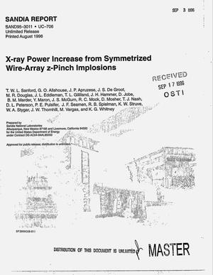 Primary view of object titled 'X-ray power increase from symmetrized wire-array z-pinch implosions'.