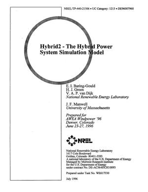 Primary view of object titled 'Hybrid2: The hybrid power system simulation model'.