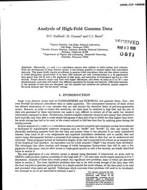 Primary view of object titled 'Analysis of High-Fold Gamma Data'.