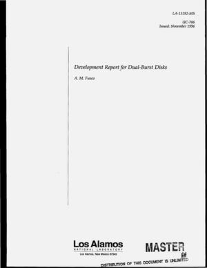 Primary view of object titled 'Development report for dual-burst disks'.
