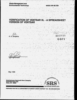 Primary view of object titled 'Verification of VENTSAR XL - a spreadsheet version of VENTSAR'.
