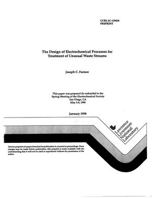 Primary view of object titled 'Design of electrochemical processes for treatment of unusual waste streams'.