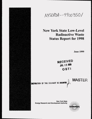 Primary view of object titled 'New York State low-level radioactive waste status report for 1998'.
