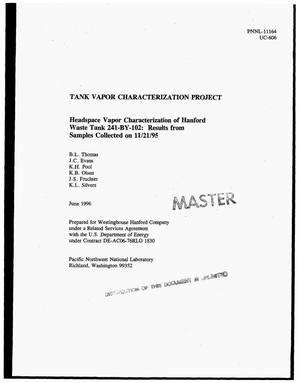 Primary view of object titled 'Headspace vapor characterization of Hanford Waste Tank 241-BY-102: Results from samples collected on November 21, 1995. Tank Vapor Characterization Project'.