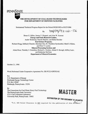 Primary view of object titled 'The development of coal-based technologies for Department of Defense facilities. Technical progress report, September 1995 - March 1996'.