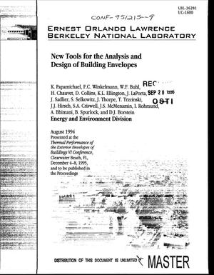 Primary view of object titled 'New tools for the analysis and design of building envelopes'.