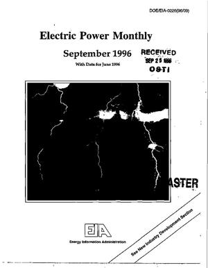 Primary view of object titled 'Electric power monthly, September 1996, with data for June 1996'.