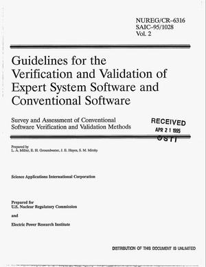 Primary view of object titled 'Guidelines for the verification and validation of expert system software and conventional software: Survey and assessment of conventional software verification and validation methods. Volume 2'.