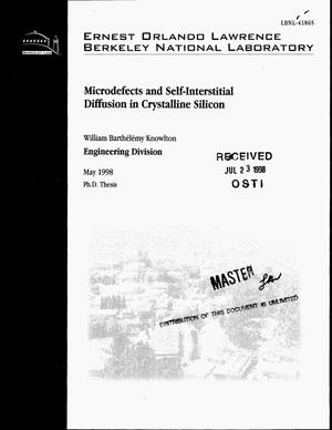Primary view of object titled 'Microdefects and self-interstitial diffusion in crystalline silicon'.