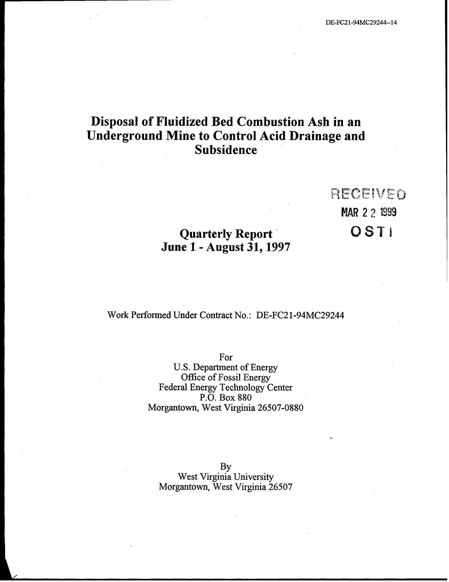 Disposal of Fluidized Bed Combustion Ash in an Underground Mine to Control Acid Drainage and Subsidence. Quarterly report, June 1 - August 31, 1997                                                                                                      [Sequence #]: 1 of 114