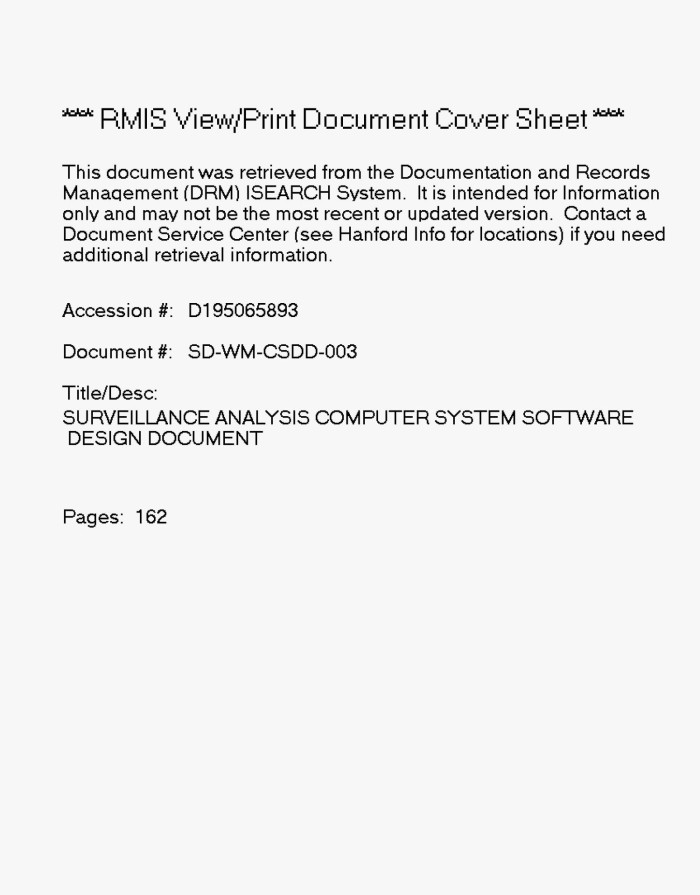 Surveillance Analysis Computer System Sacs Software Design Document Sdd Unt Digital Library