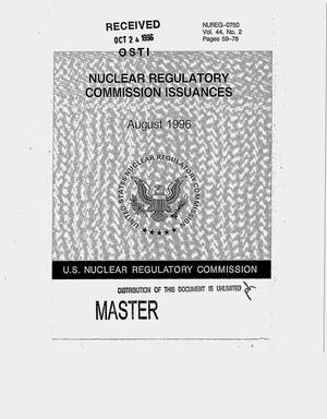 Primary view of object titled 'Nuclear Regulatory Commission issuances. Volume 44, Number 2'.