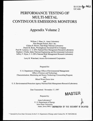 Primary view of object titled 'Performance testing of multi-metal continuous emissions monitors. Appendix Volume 2'.