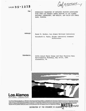 Primary view of object titled 'Hydrologic transport of depleted uranium associated with open air dynamic range testing at Los Alamos National Laboratory, New Mexico, and Eglin Air Force Base, Florida'.