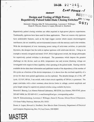 Primary view of object titled 'Design and testing of high power, repetitively pulsed solid-state closing switches'.