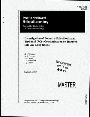 Primary view of object titled 'Investigation of potential polychlorinated biphenyl (PCB) contamination on Hanford site arc-loop roads'.