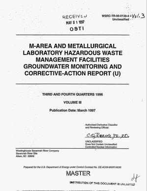 Primary view of object titled 'M-Area and Metallurgical Laboratory Hazardous Waste Management Facilities groundwater monitoring and corrective-action report (U). Third and fourth quarters 1996, Vol. 3'.