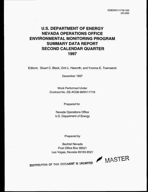 Primary view of object titled 'US Department of Energy, Nevada Operations Office Environmental Monitoring Program summary data report. Second calendar quarter--1997'.