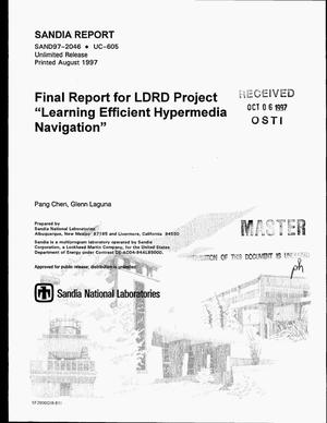 Primary view of object titled 'Final report for LDRD project learning efficient hypermedia navigation'.