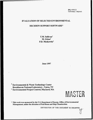 Primary view of object titled 'Evaluation of selected environmental decision support software'.