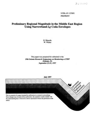 Primary view of object titled 'Preliminary regional magnitude in the Middle East Region using narrowband Lg coda envelopes'.