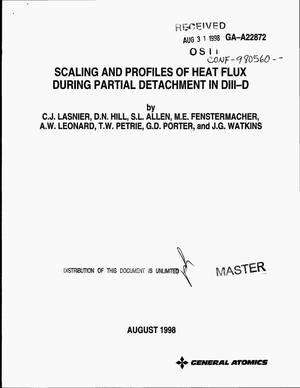 Primary view of object titled 'Scaling and profiles of heat flux during partial detachment in DIII-D'.