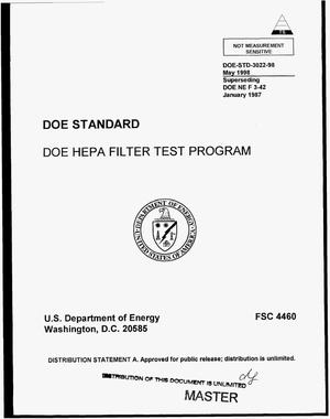 Primary view of object titled 'DOE HEPA filter test program'.