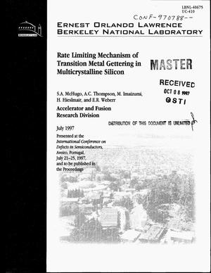 Primary view of object titled 'Rate limiting mechanism of transition metal gettering in multicrystalline silicon'.