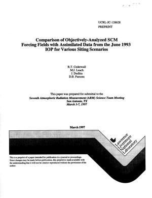 Primary view of object titled 'Comparison of objectively-analyzed SCM forcing fields with assimilated data from the June 1993 IOP for various siting scenarios'.