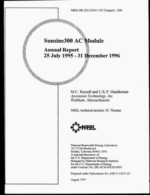 Primary view of object titled 'SunSine300 AC module. Annual report, July 25, 1995--December 31, 1996'.