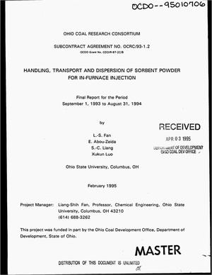 Primary view of object titled 'Handling, transport and dispersion of sorbent powder for in-furnace injection. Final report, September 1, 1993--August 31, 1994'.