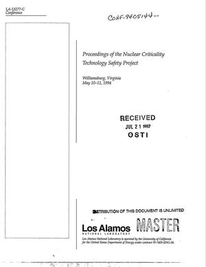 Primary view of object titled 'Proceedings of the nuclear criticality technology safety project'.