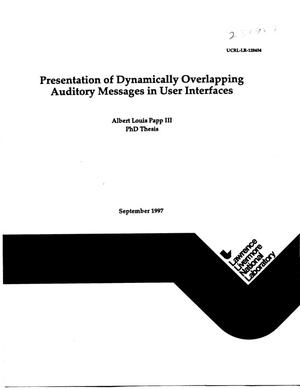 Primary view of object titled 'Presentation of dynamically overlapping auditory messages in user interfaces'.