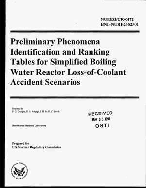 Primary view of object titled 'Preliminary phenomena identification and ranking tables for simplified boiling water reactor Loss-of-Coolant Accident scenarios'.