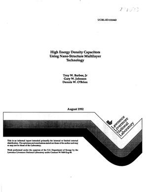Primary view of object titled 'High energy density capacitors using nano-structure multilayer technology'.